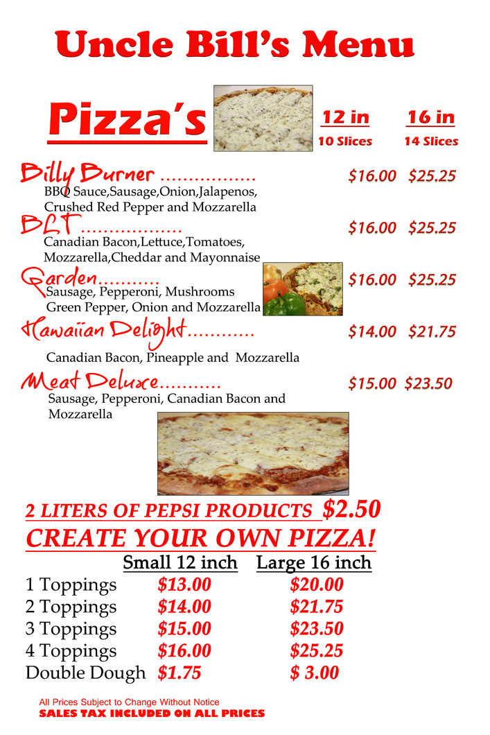 Uncle Bill's Pizza in Davenport, IA is a restaurant offering Italian food and pizza